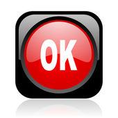 Ok black and red square web glossy icon — Stock Photo