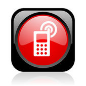 Cellphone black and red square web glossy icon — Stock Photo