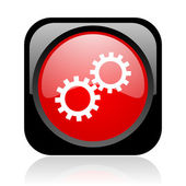 Gears black and red square web glossy icon — Stock Photo
