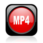 Mp4 black and red square web glossy icon — Stock Photo