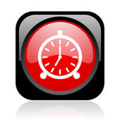 Alarm clock black and red square web glossy icon — Stock Photo