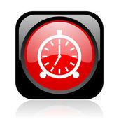 Alarm klok zwart en rood vierkant web glanzende pictogram — Stockfoto