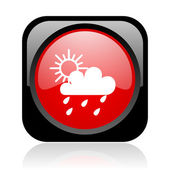 Weather forecast black and red square web glossy icon — Stock Photo