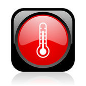 温度计黑色和红色方形 web 光泽图标 — 图库照片
