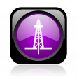 Drilling black and violet square web glossy icon — Stock Photo
