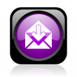 Mail black and violet square web glossy icon — Stock Photo