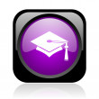 Stock Photo: Graduation black and violet square web glossy icon