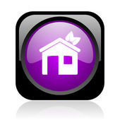 Home black and violet square web glossy icon — Stock Photo