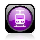 Train black and violet square web glossy icon — Stock Photo