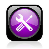 Tools black and violet square web glossy icon — Stock Photo