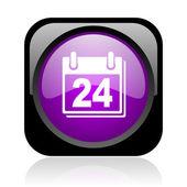планировщик черный и фиолетовый квадрат веб глянцевой значок — Стоковое фото