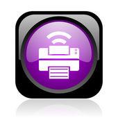 ícone de impressão web quadrado preto e violeta brilhante — Foto Stock