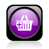 Shopping cart black and violet square web glossy icon — Stock Photo