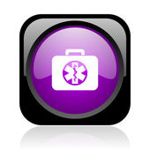 Rescue kit černá a fialová lesklá ikona čtvercové webové — Stock fotografie