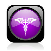 Caduceus black and violet square web glossy icon — Stock Photo