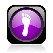 Footprint black and violet square web glossy icon — Stock Photo