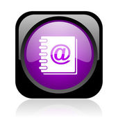 Address book black and violet square web glossy icon — Stock Photo