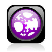Gears black and violet square web glossy icon — Stock Photo