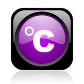 Icône de papier glacé celsius web carré noir et violet — Photo