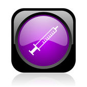 Syringe black and violet square web glossy icon — Stock Photo