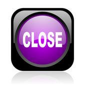 Close black and violet square web glossy icon — Stock Photo