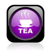 Tea black and violet square web glossy icon — Stock Photo
