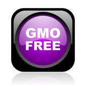 Gmo free black and violet square web glossy icon — Stock fotografie