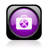 Toolkit black and violet square web glossy icon — Zdjęcie stockowe