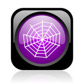 Spider web black and violet square web glossy icon — Stock Photo