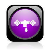 Water black and violet square web glossy icon — Stock Photo