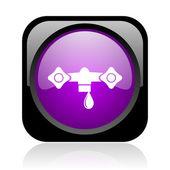 水黑色和紫色方形 web 光泽图标 — 图库照片