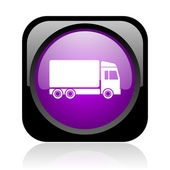 Delivery black and violet square web glossy icon — Stock Photo