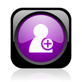 Add contact black and violet square web glossy icon — Stock Photo