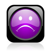 Cry black and violet square web glossy icon — Stock Photo