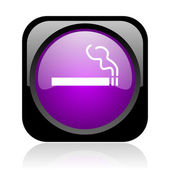 Smoking black and violet square web glossy icon — Stock Photo