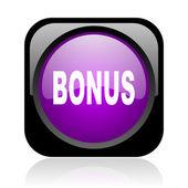 Bonus black and violet square web glossy icon — Stock Photo