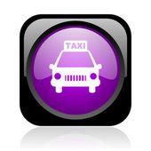 Taksi siyah ve mor parlak web simgesi kare — Stok fotoğraf