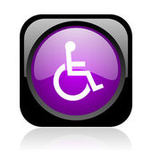 доступность черный и фиолетовый квадрат веб глянцевой значок — Стоковое фото