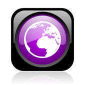 Earth black and violet square web glossy icon — Stock Photo