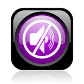 Mute black and violet square web glossy icon — Stock Photo