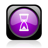 Time black and violet square web glossy icon — Stock Photo