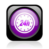 24h black and violet square web glossy icon — Stock Photo