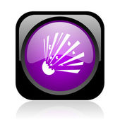 Bomb black and violet square web glossy icon — Stock Photo