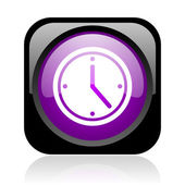 Clock black and violet square web glossy icon — Stock Photo