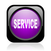 Service black and violet square web glossy icon — Stock Photo