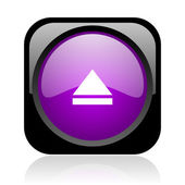 Eject black and violet square web glossy icon — Stock Photo