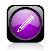 Pencil black and violet square web glossy icon — Stock Photo
