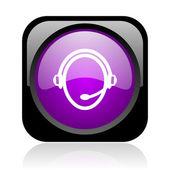 Customer service black and violet square web glossy icon — Foto Stock