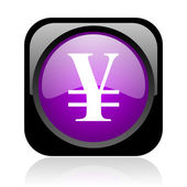 Yen black and violet square web glossy icon — Stock Photo