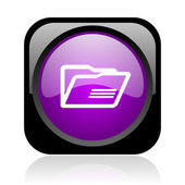 Folder black and violet square web glossy icon — Stock Photo